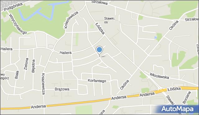 Toruń, Powstańców Wielkopolskich, mapa Torunia