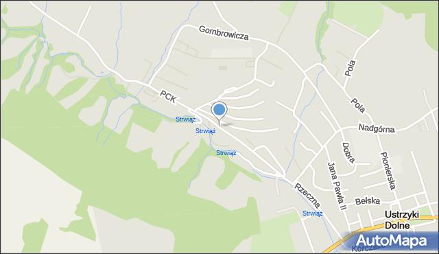 Ustrzyki Dolne, Polskiego Czerwonego Krzyża, mapa Ustrzyki Dolne