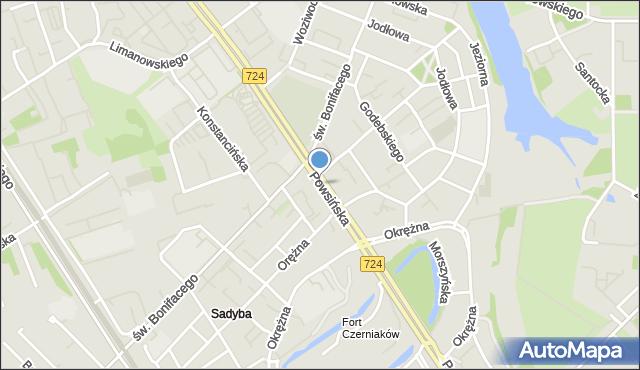 Warszawa, Powsińska, mapa Warszawy
