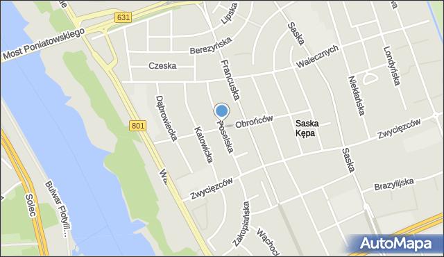 Warszawa, Poselska, mapa Warszawy