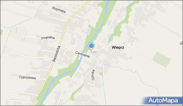 Wieprz powiat wadowicki, Podgórze, mapa Wieprz powiat wadowicki