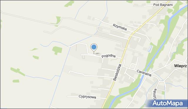Wieprz powiat wadowicki, Pogodna, mapa Wieprz powiat wadowicki