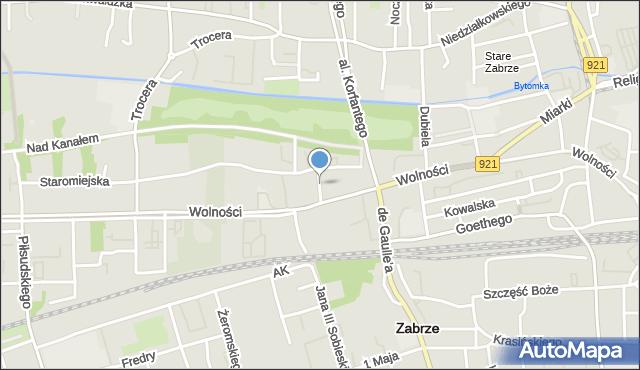 Zabrze, Podgórna, mapa Zabrza