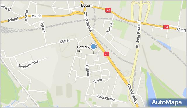 Bytom, Prokopa Wilhelma, mapa Bytomia