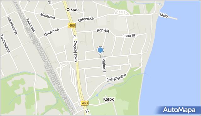 Gdynia, Przebendowskich, mapa Gdyni