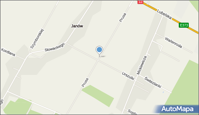 Janów gmina Chełm, Prusa Bolesława, mapa Janów gmina Chełm
