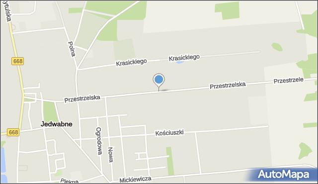 Jedwabne, Przestrzelska, mapa Jedwabne