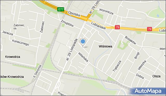 Kraków, Prądzyńskiego Ignacego, gen., mapa Krakowa