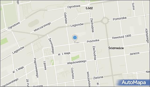 Łódź, Próchnika Adama, mapa Łodzi