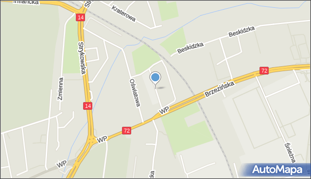 Łódź, Produkcyjna, mapa Łodzi