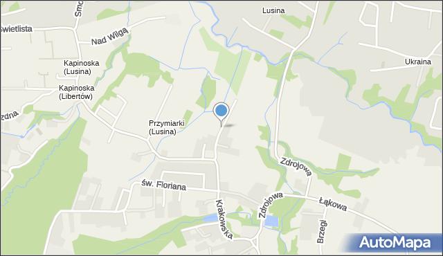 Lusina gmina Mogilany, Przymiarki, mapa Lusina gmina Mogilany