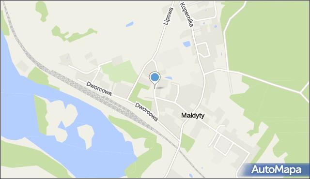 Małdyty, Przemysłowa, mapa Małdyty