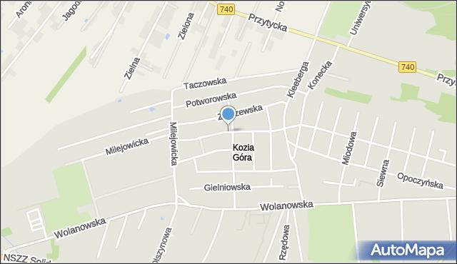 Radom, Przysuska, mapa Radomia
