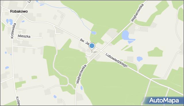 Robakowo gmina Luzino, Przyleśna, mapa Robakowo gmina Luzino