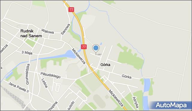 Rudnik nad Sanem, Prusa Bolesława, mapa Rudnik nad Sanem