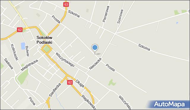 Sokołów Podlaski, Prosta, mapa Sokołów Podlaski
