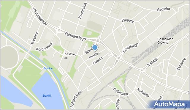 Sosnowiec, Prosta, mapa Sosnowca