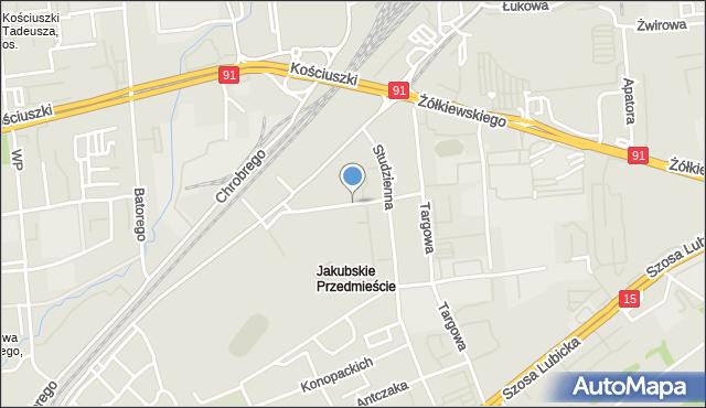 Toruń, Prądzyńskiego Ignacego, gen., mapa Torunia