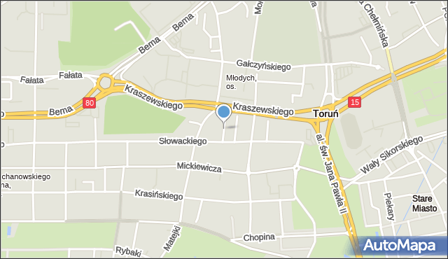 Toruń, Prusa Bolesława, mapa Torunia
