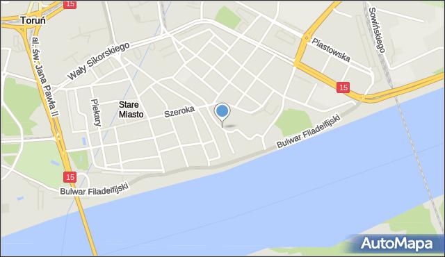 Toruń, Przedzamcze, mapa Torunia
