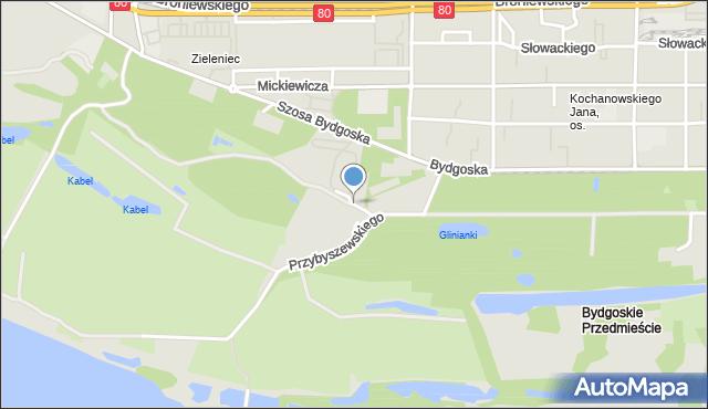 Toruń, Przy Cegielni, mapa Torunia