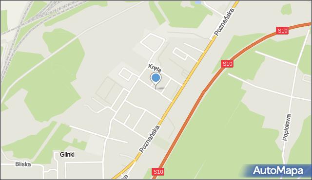 Toruń, Przytulna, mapa Torunia