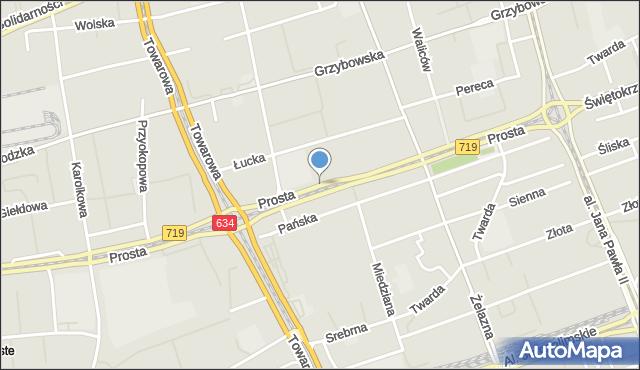 Warszawa, Prosta, mapa Warszawy