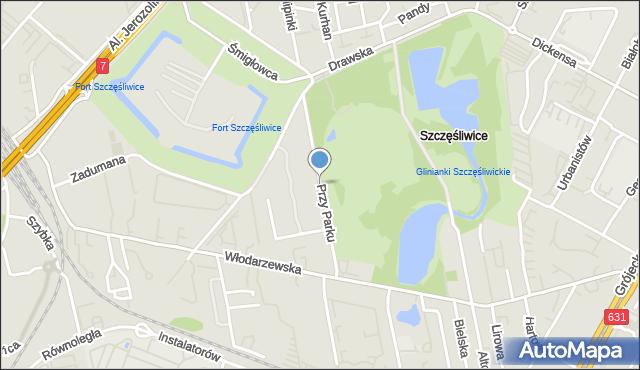 Warszawa, Przy Parku, mapa Warszawy