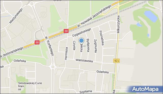 Zabrze, Prudnicka, mapa Zabrza