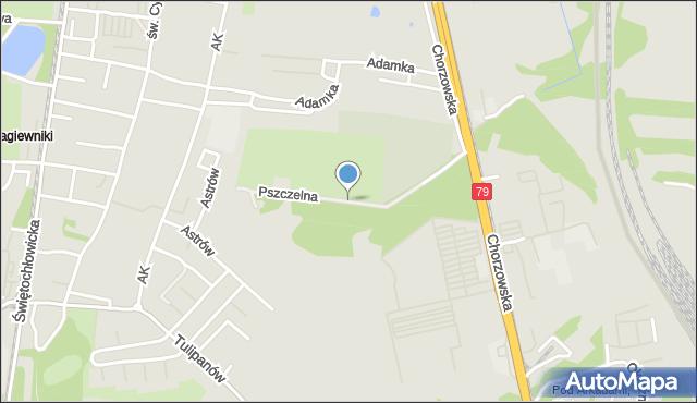 Bytom, Pszczelna, mapa Bytomia