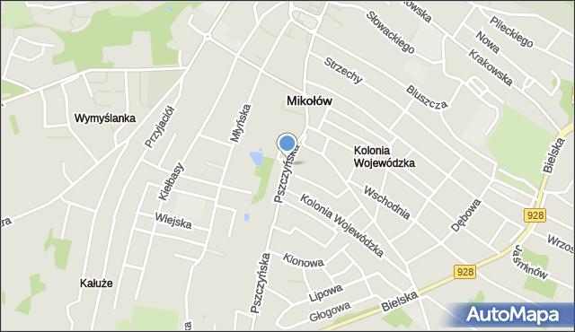Mikołów, Pszczyńska, mapa Mikołów