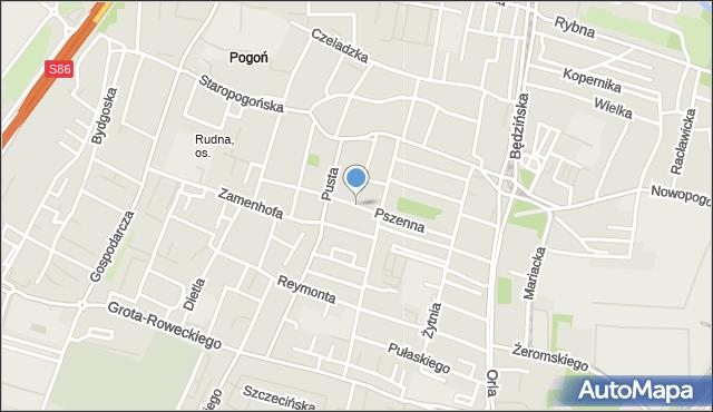 Sosnowiec, Pszenna, mapa Sosnowca