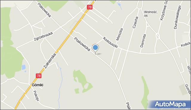 Bytom, Ptakowicka, mapa Bytomia
