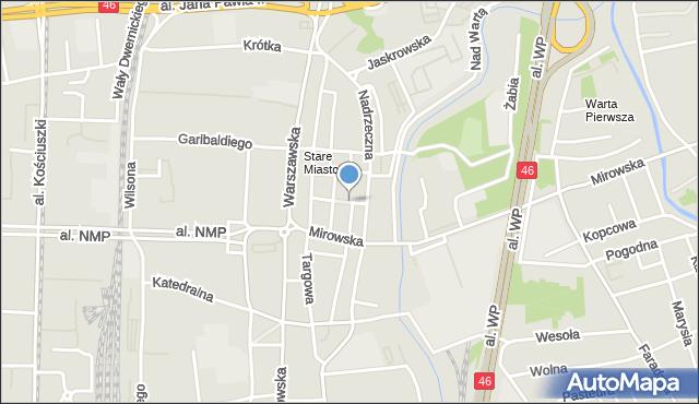 Częstochowa, Ptasia, mapa Częstochowy