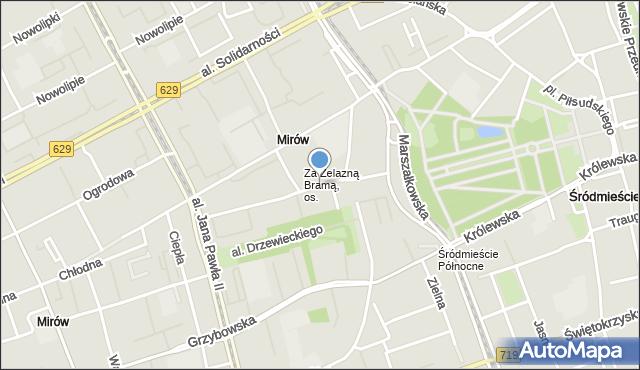 Warszawa, Ptasia, mapa Warszawy