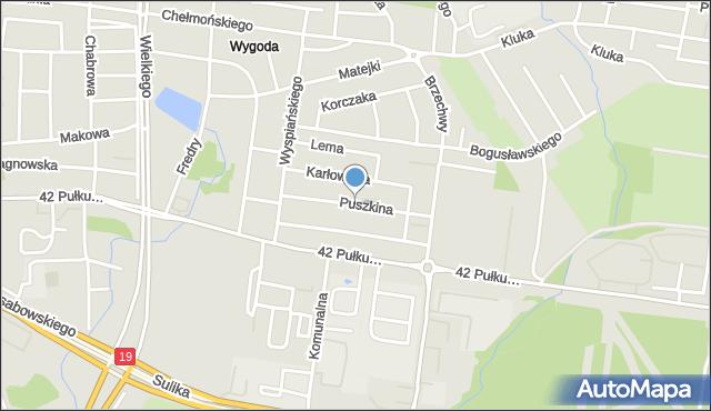Białystok, Puszkina Aleksandra, mapa Białegostoku