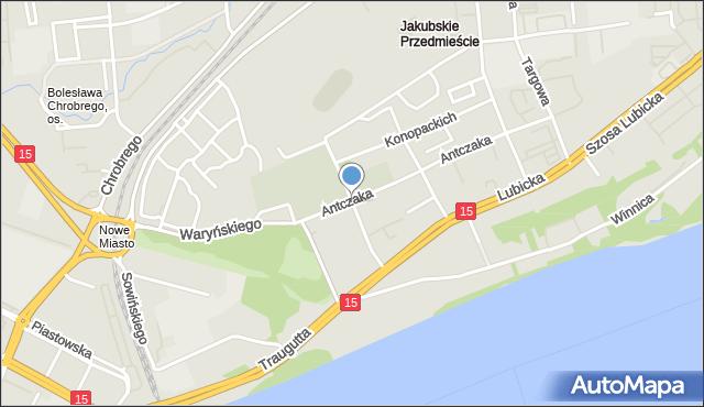 Toruń, Pułaskiego Kazimierza, gen., mapa Torunia