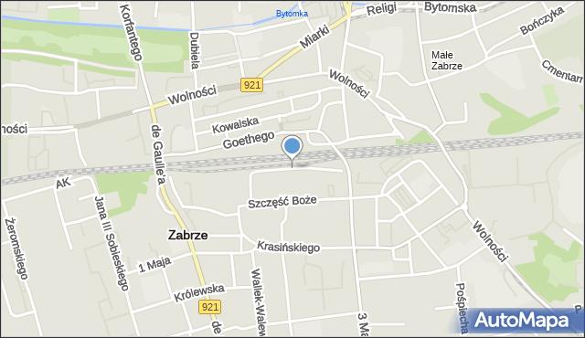 Zabrze, Pułaskiego Kazimierza, gen., mapa Zabrza