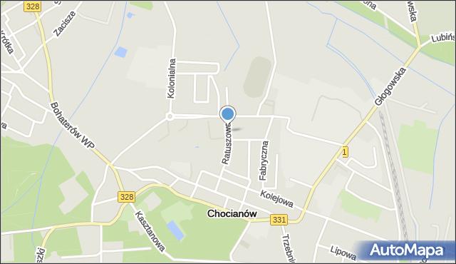 Chocianów, Ratuszowa, mapa Chocianów