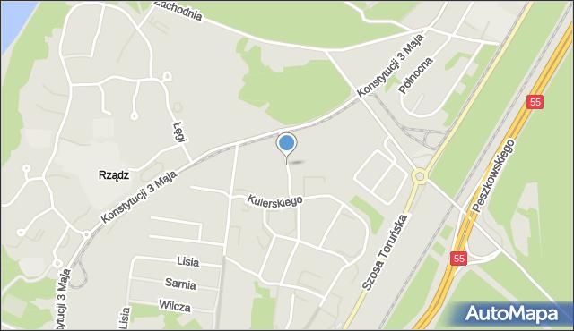 Grudziądz, Rakowskiego Jana M., mapa Grudziądza