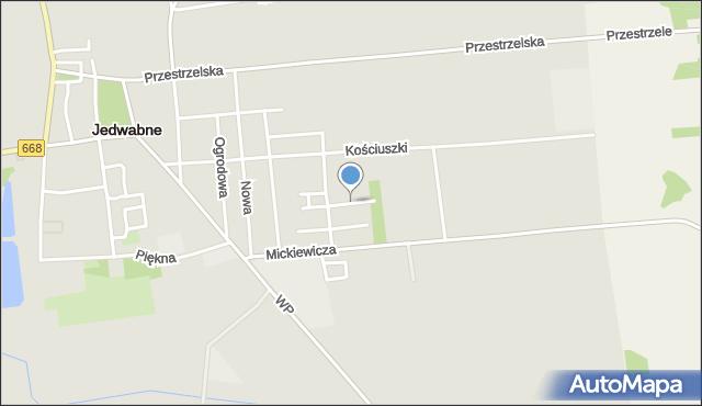Jedwabne, Raginisa Władysława, mjr., mapa Jedwabne