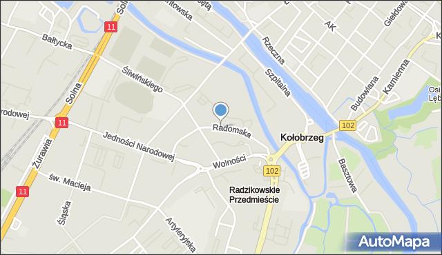 Kołobrzeg, Radomska, mapa Kołobrzegu