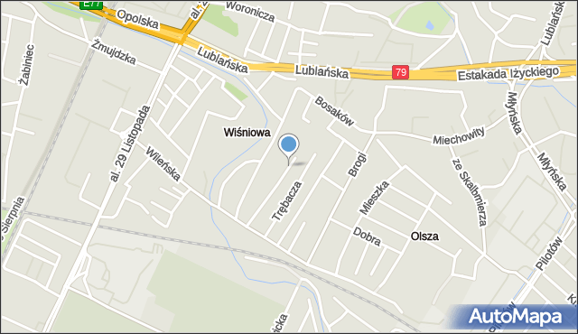 Kraków, Radomska, mapa Krakowa