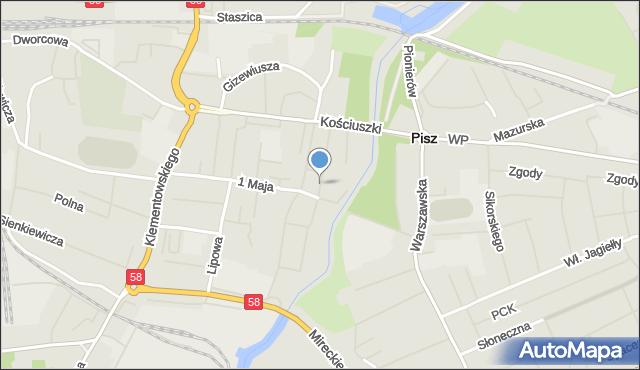 Pisz, Ratuszowa, mapa Pisz