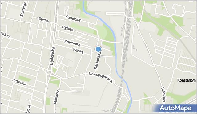 Sosnowiec, Racławicka, mapa Sosnowca