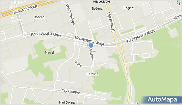 Toruń, Raszei Leona, mapa Torunia