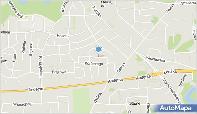 Toruń, Ratajczaka Franciszka, mapa Torunia