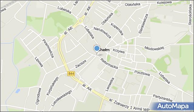 Chełm, Reformacka, mapa Chełma