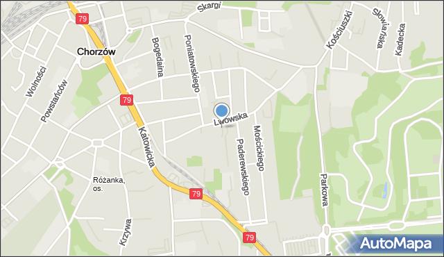 Chorzów, Redena Fryderyka Wilhelma, mapa Chorzów