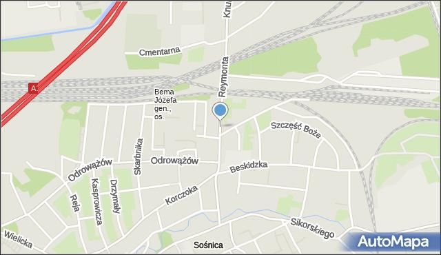 Gliwice, Reymonta Władysława, mapa Gliwic